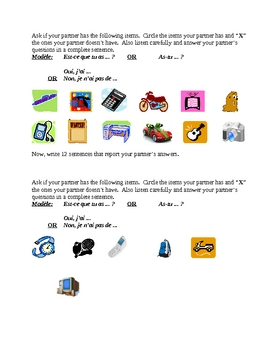 Avoir and objects French verb speaking and writing activity