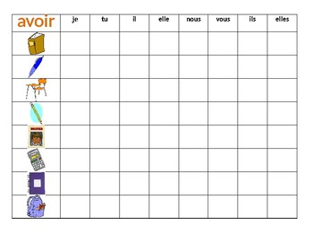 Fournitures scolaires et Avoir French verb Connect 4 game
