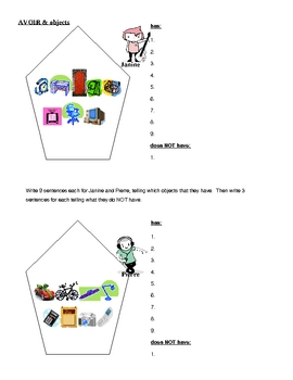 Avoir and objects in French worksheet