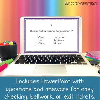 French verbs - Avoir être present tense Scoot! game and task cards JEU DE VERBES