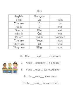 Avoir and être worksheet and resource