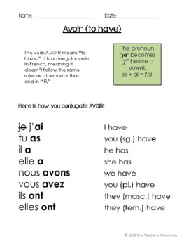 Avoir (au present) - grammar notes and activities
