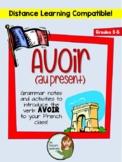 Avoir (au present) - grammar notes and activities - Distan