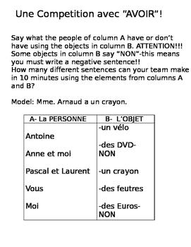 Avoir conjugation competition