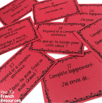 French avoir expressions SCOOT game and task cards