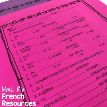 Avoir être French verbs notes and worksheet - present tense