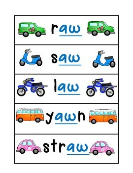 Aw Au Phonics Automobile Literacy Pack