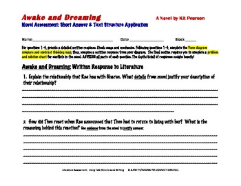 Awake and Dreaming Novel Test: Written Response & Text Structures