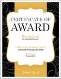 Award Certificate -Free!