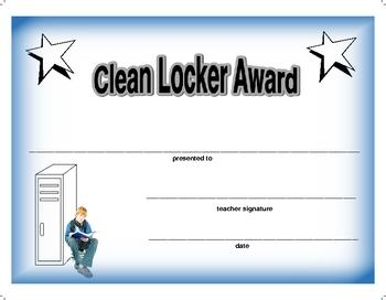Award Certificate  -  Clean Locker 2 with Boy