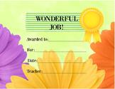 Award Certificate Flower Theme, orange yellow purple, Wond