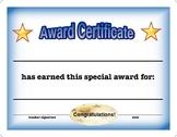 Award Certificate -Generic