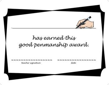 Award Certificate - Good Penmanship