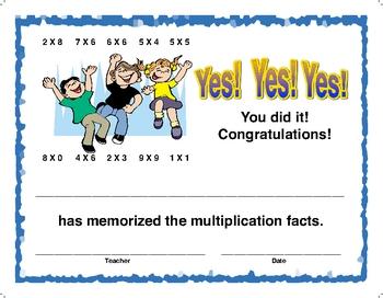 Award Certificate - Memorize Multiplcation Facts