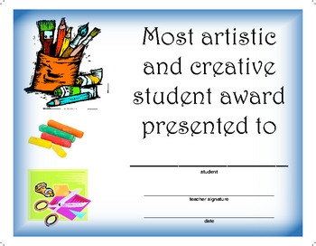 Award Certificate  -  Most Creative and Artistic