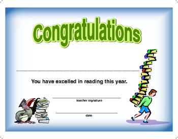 Award Certificate  -  Reading 2