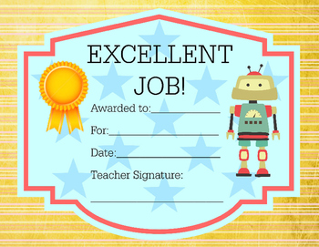 Award Certificate Robot Theme Excellent Job 8.5x11 - or print out in any size