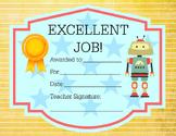 Award Certificate Robot Theme Excellent Job 8.5x11 - or pr