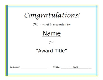 Award Certificate *editable*