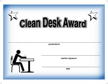 Award Certificate for Clean Desk
