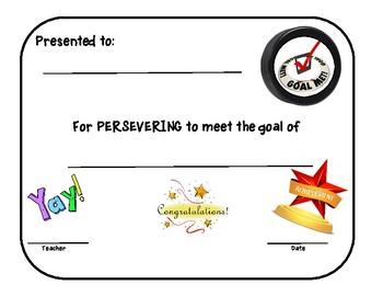 Award Certificate for Reaching a Goal