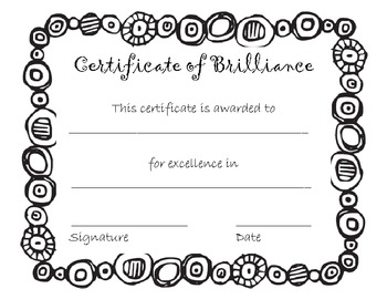 Award: Certificate of Brilliance