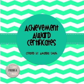 Achievement Award Certificates: Ready to Use Chevron Printables