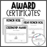 Quarterly Award Certificates - Honor Roll and Citizenship Awards
