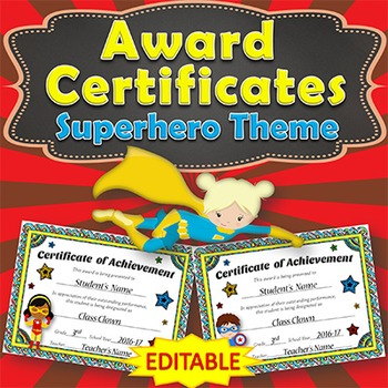 EDITABLE Awards Certificates - Superhero Themed ...