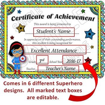 superhero award certificate  EDITABLE Awards Certificates - Superhero Themed Certificates of ...