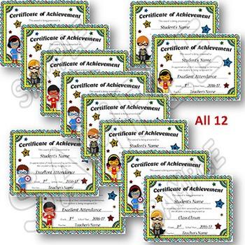 EDITABLE Awards Certificates - Superhero Themed Certificates of Achievement