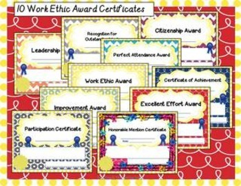 Positive Classroom Management Award Certificates All Subject Editable Work Ethic