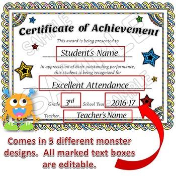 Award Certificates - EDITABLE - Monsters Theme