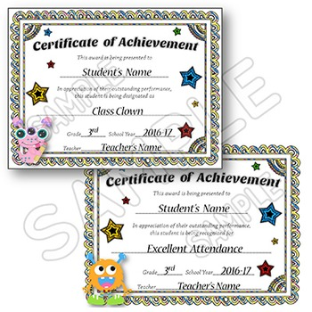 Award Certificates - EDITABLE - Monsters Theme Certificates of Achievement