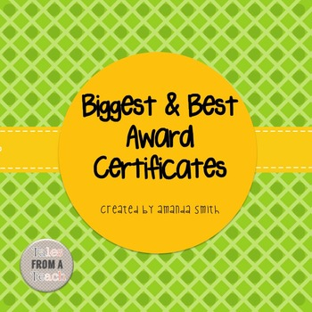Biggest and Best Award Certificates: Ready to Use Plaid & Dot Printables
