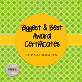 Biggest and Best Award Certificates: Ready to Use Plaid &