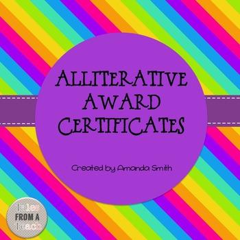 Alliterative Award Certificates: Ready to Use Rainbow Printables