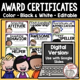 Award Certificates for End of Year