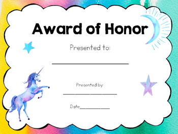 Award Certificates for End of Year, Art and More!   Editable!