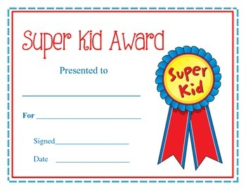 Editable Award Certificates for End of the Year Awards Printable. Super Kid