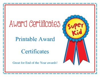 Editable Award Certificates for End of the Year Awards Pri