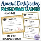 Award Certificates for Secondary Learners