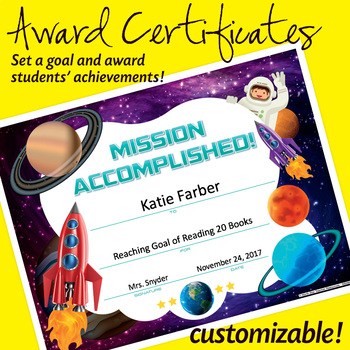 NSD6020 Mission Accomplished Editable Anytime Award Certificates
