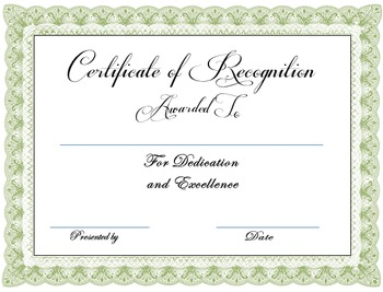 Award Certificates in Tan, Olive Green and Dark Blue