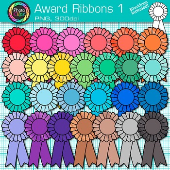 Award Clip Art {Ribbon Badges For International Games, Field Day & Races} 1