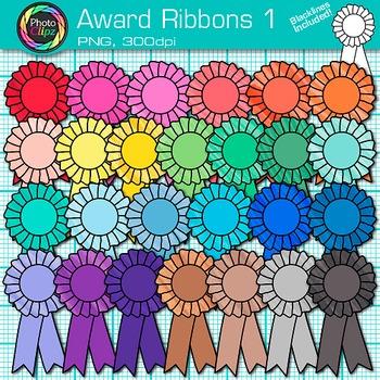 Award Clip Art {Ribbon Badges For International Games, Field Day & Races} 1