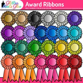 Award Clip Art {Ribbon Badges For International Games, Field Day & Races}
