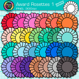 Award Clip Art {Rosette Badges For International Games, Field Day & Races} 1