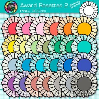 Award Clip Art {Rosette Badges For International Games, Field Day & Races} 2