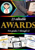 24 digital Award Templates for highschool and middle school - editable
